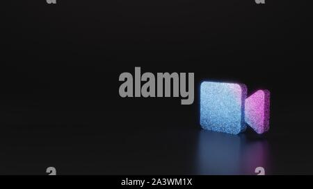 glitter neon violet pink ombre symbol of camera   3D rendering on black background with blurred reflection with sparkles - Stock Photo