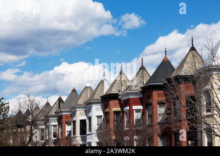 Row houses in Washington DC on a spring day. - Stock Photo