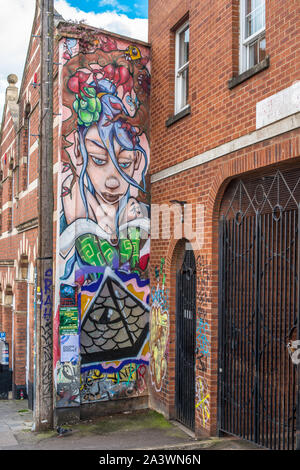 Stokes Croft is a colourful district of Bristol full of street art. Avon. England. UK. - Stock Photo