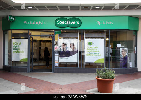 Leatherhead, Surrey, UK - Specsavers Opticians and Audiologist high street shop in Swan Centre, 2019 - Stock Photo