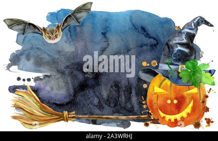Watercolor Halloween. Hand drawn holiday illustrations isolated on white background: pumpkin in a witch hat on black background. Artistic autumn decor - Stock Photo