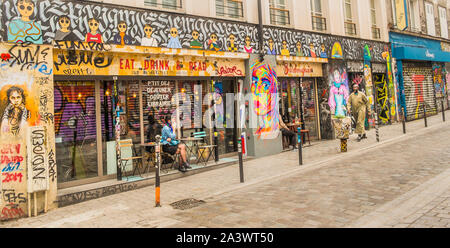 street scene in front of cafe, restaurant 'le barbouquin' - Stock Photo
