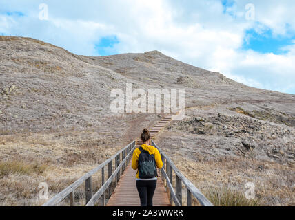 Young girl in yellow sweater on hiking path in Ponta de Sao Lourenco in Madeira, Portugal. Peninsula in eastern part of the island. Volcanic landscape. Woman traveller. Adventure concept. - Stock Photo