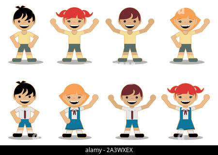 group of kids with school uniforms and sports uniforms, set of smiling girls and boys on white background to fill. Flat style design. - Stock Photo