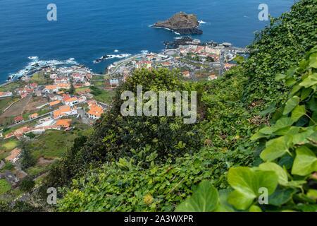 VIEW FROM THE MIRADOURO DA SANTA OVER THE TOWN OF PORTO MONIZ, ISLAND OF MADEIRA, PORTUGAL - Stock Photo