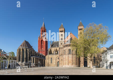 Basilica of Saint Servatius view in Maastricht, Holland - Stock Photo