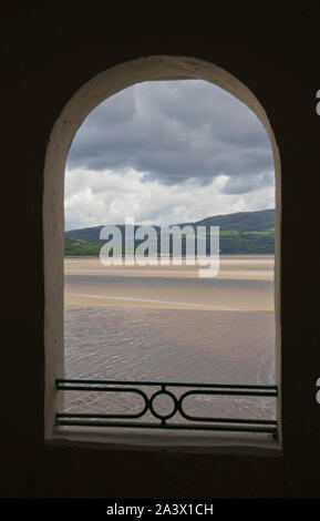 Portmeirion village and spa hotel, in Italian style,created by the Welsh architect Clough Williams-Ellis by the estuary of the River Dwyryd, is one of - Stock Photo