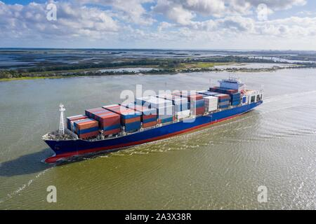 Aerial view of large container ship in the St. Johns River.