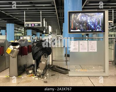 (191010) -- HONG KONG, Oct. 10, 2019 (Xinhua) -- This undated photo shows Hang Hau MTR Station sabotaged by rioters in Hong Kong, south China. TO GO WITH '1st LD Writethru: HKSAR gov't officials disclose facts, figures about destruction by rioters' (The Mass Transit Railway/Handout via Xinhua) - Stock Photo