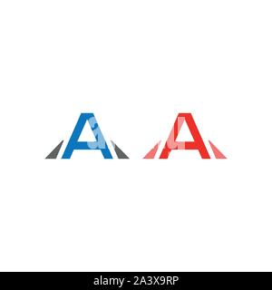 Initial letter A logo vector design template. Blue and red letter - Vector - Stock Photo