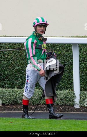 Autumn Racing Weekend & Ascot Beer Festival, Ascot Racecourse, Ascot, Berkshire, UK. 5th October, 2019. A jockey after racing. Credit: Maureen McLean/Alamy Stock Photo