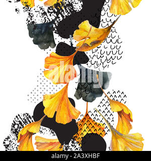 Abstract watercolor seamless pattern in autumn colors. Drawing of ginkgo leaves, ink doodle, grunge, water color paper textures. Floral background for