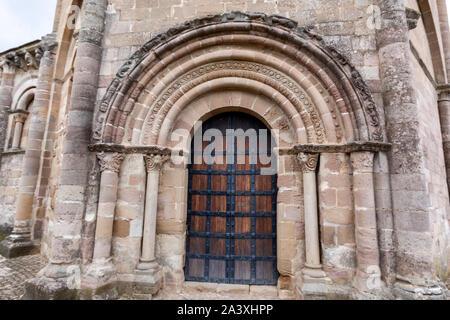 North door, decorated, in Church of Saint Mary of Eunate, 12th-century Romanesque church , Muruzábal, Navarre, Spain, - Stock Photo