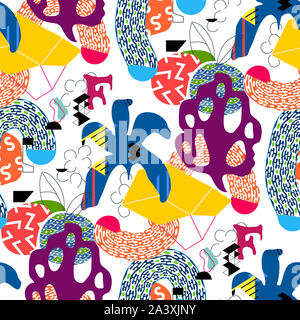Floral abstract seamless pattern background. Colorful exotic plants and geometric shapes. Square composition, modern trend design - Stock Photo