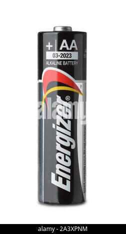 Samara, Russia - October 2017. Product shot of Energizer AA alkaline battery isolated on white - Stock Photo