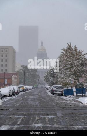 Denver, Colorado, USA- October 10, 2019: Colorado capitol during Denver's first snow storm of the season. - Stock Photo