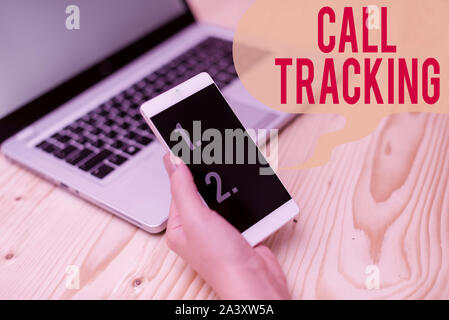 Word writing text Call Tracking. Business photo showcasing Organic search engine Digital advertising Conversion indicator woman laptop computer smartp - Stock Photo