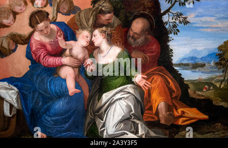 The Mystic Marriage of Saint Catherine of Alexandria by Paolo Veronese (1528–1588), oil on canvas, c.1547-50 - Stock Photo