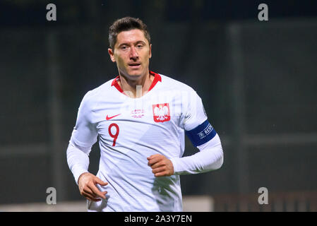 RIGA, LATVIA. 10th October, 2019. Robert Lewandowski, during UEFA EURO 2020 Qualification game between national football team of Latvia and team Poland. Credit: Gints Ivuskans/Alamy Live News - Stock Photo