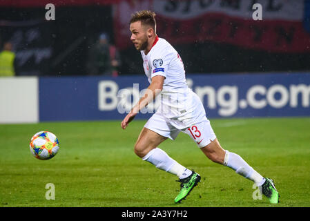 RIGA, LATVIA. 10th October, 2019. Maciej Rybus, during UEFA EURO 2020 Qualification game between national football team of Latvia and team Poland. Credit: Gints Ivuskans/Alamy Live News - Stock Photo