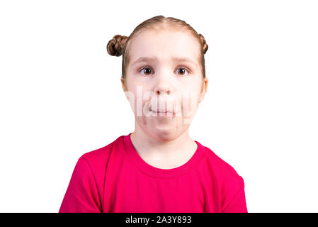Girl with sticky tape over mouth. Isolated on white background. - Stock Photo