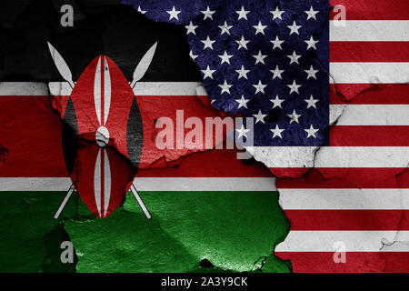 flags of Kenya and USA painted on cracked wall - Stock Photo