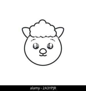 cute sheep animal farm line style icon vector illustration design - Stock Photo
