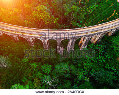 Aerial view of Nine Arches Bridge in Ella, Sri Lanka. Drone photo. - Stock Photo