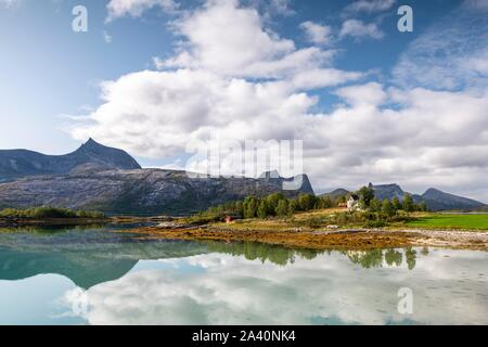 Mountains and landscape reflected in fjord, Tysfjord, Ofoten, Nordland, Norway - Stock Photo