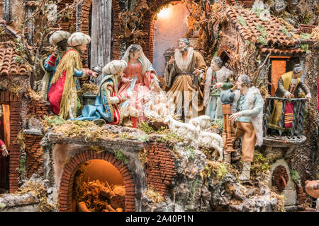 The art of Neapolitan nativity of S. Gregorio Armeno, S. Gregorio Armeno is a small street in the old town of Naples, Italy. - Stock Photo