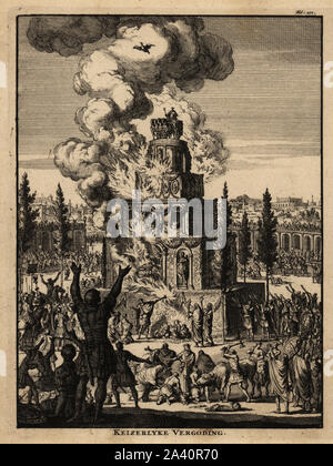 Five-story funeral pyre for a Roman Emperor in flames, Rome. The pyramid is decorated with garlands and statues, crowned with a figure on a quadriga, four-horse chariot. Legionnaires, eagle bearers and centurions grieve, musicians blow horns, men sacrifice bulls. Copperplate engraving by Jan Luyken from Abraham Bogaert's De Roomsche Monarchy, The Roman Monarchy, Francois Salma, Utrecht, 1697. - Stock Photo