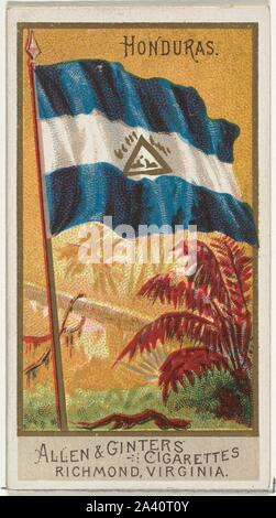 Honduras, from Flags of All Nations, Series 2 (N10) for Allen & Ginter Cigarettes Brands.jpg - 2A40T0Y - Stock Photo