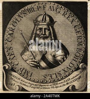 Holy Roman Emperor Charles IV, 1316-1378. Carolus IV Bohemus, King of Bohemia. Copperplate engraving from Abraham Bogaert's De Roomsche Monarchy, The Roman Monarchy, Francois Salma, Utrecht, 1697. - Stock Photo