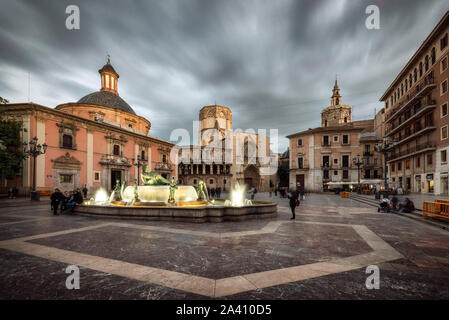 Virgen square in Valencia (Spain) - Stock Photo