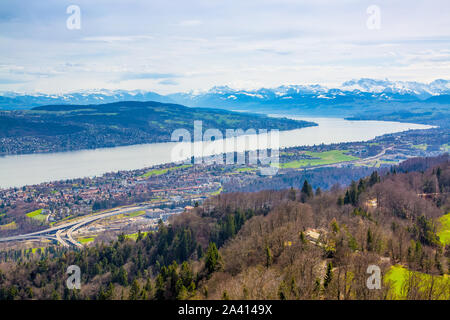 Panorama of Zurich city and lake from odservation tower on Uetliberg mountain - Stock Photo