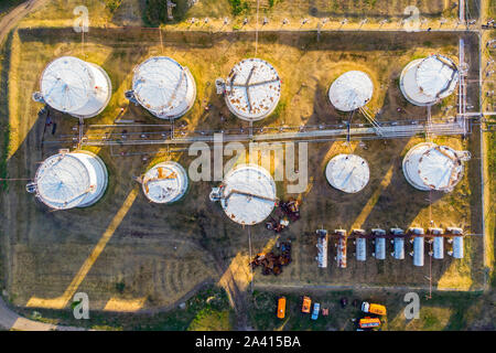 Liquid chemical tank terminal, Storage of liquid chemical and petrochemical products tank, Aerial view. The tank with petrol white color top view