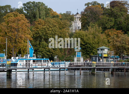 Berlin, Germany. 09th Oct, 2019. The excursion boat 'Sperber' of the Stern und Kreisschifffahrt is at the mooring at Wannsee. Credit: Monika Skolimowska/dpa-Zentralbild/ZB/dpa/Alamy Live News - Stock Photo