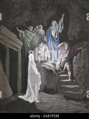 Resurrection of Lazarus. (John 11:43). Engraving. Bible Illustration by Gustave Dore. 19th century. - Stock Photo