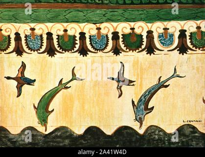 "Mural frieze in the Tomb of the Lionesses (Tomba delle Leonesse), Tarquinia, Italy, (1928). Etruscan burial chamber, '1st Half of 6th Century B.C...Flying fish [dolphins] and wild ducks over sea waves, palmette and lotus band above'. After a water-colour by L. Cartocci. Plate XXI, fig 57, from ""An Encyclopaedia of Colour Decoration from the Earliest Times to the Middle of the XIXth Century"" with explanatory text by Helmuth Bossert. [Ernst Wasmuth Ltd., Berlin, 1928] - Stock Photo"