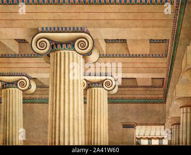 "Ionic Hall in the Acropolis at Athens, Greece, (1928). '437-432 B.C...Reconstruction of the Ionic hall behind the Doric portico of the Propylaea...Built by the architect Mnesicles (437-432 B.C.) the Propylaea were however never completed owing to the outbreak of the Peloponnesian War (431-410). The marble coffered ceiling of the hall was supported by two lows of Ionic columns'. After L. Fenger. Plate XIX, fig 55, from ""An Encyclopaedia of Colour Decoration from the Earliest Times to the Middle of the XIXth Century"" with explanatory text by Helmuth Bossert. [Ernst Wasmuth Ltd., Berlin - Stock Photo"