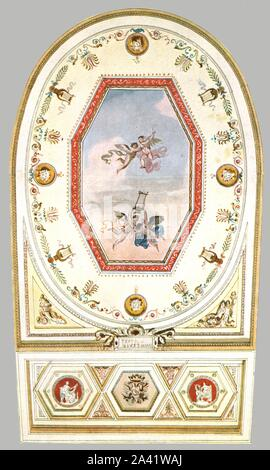 """Design for a ceiling in a theatre, Italy, (1928). 'About 1820-1840...Design by Giuseppe Borsato for a theatre (""""Teatro Giustiniano"""")...Borsato [1770-1840] was professor of ornamental art at the Venice Academy. He...painted a number of theatres in Venice and other towns in the [eighteen] twenties and thirties'. After an aquarelle pen-and-ink drawing. Plate CV, fig 199, from """"An Encyclopaedia of Colour Decoration from the Earliest Times to the Middle of the XIXth Century"""" with explanatory text by Helmuth Bossert. [Ernst Wasmuth Ltd., Berlin, 1928] - Stock Photo"""