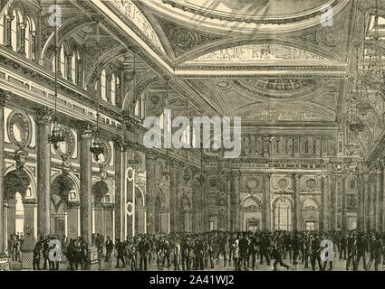"""'Interior of the Royal Exchange', 1898. The Royal Exchange and trading hall, Grade II listed building in Manchester, England for cotton importers and brokers. From """"Our Own Country, Volume III"""". [Cassell and Company, Limited, London, Paris & Melbourne, 1898] - Stock Photo"""