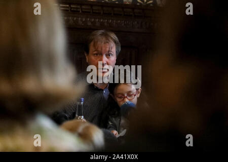 London / UK – October 11, 2019: Richard Ratcliffe speaks at a press conference in Westminster with his daughter Gabriella Zaghari-Ratcliffe, following her return to the UK from Iran - Stock Photo