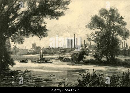"""'Burton-On-Trent', 1898. Industrialised market town on the River Trent in Staffordshire, known for brewing. The town originally grew around Burton Abbey. From """"Our Own Country, Volume VI"""". [Cassell and Company, Limited, London, Paris & Melbourne, 1898] - Stock Photo"""