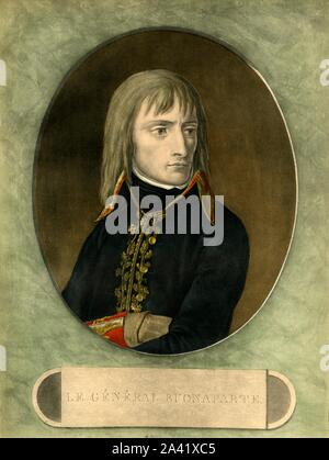 """General Bonaparte, 1798, (1921). 'Le Général Bonaparte', Portrait of Napoleon Bonaparte (1769-1821) when he was in Commander-in-Chief of the Army of Italy, (part of the French army). He conquered the Italian Peninsula in a year. Engraving by Pierre Michel Alix after a painting by Andrea Appiani. From """"Napoleon"""", by Raymond Guyot. [H. Floury, Paris, 1921] - Stock Photo"""