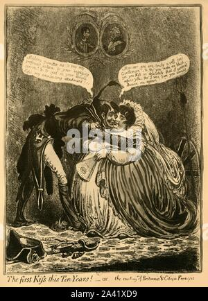 'The first Kiss this Ten Years! - or - the meeting of Britannia & Citizen François', 1803, (1921). Citizen François (representing France): 'Madame, permittez me, to pay my profound esteem to your engaging person! & to seal on your divine Lips my everlasting attachment!!!'. Britannia replies: 'Monsieur, you are truly a well-bred Gentleman! - & tho' you make me blush, yet, you Kiss so delicately, that I cannot refuse you; tho' I was sure you would Deceive me again!!!' Above them are portraits of George III and Napoleon, facing each other. After an engraving by James Gillray - Stock Photo