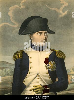 "'Napoleon the Great, Emperor of the French, King of Italy', c1806, (1921). 'Napoleon Le Grand, Empereur des Français, Roi d'Italie'. Portrait of Napoleon Bonaparte (1769-1821) in cocked hat and uniform. Engraving by Ruotte after Robert Lefèvre. From ""Napoleon"", by Raymond Guyot, [H. Floury, Paris, 1921] - Stock Photo"