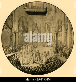 "Baptism of Napoleon II, Notre Dame, Paris, 10 June 1811, (1921). 'Baptême du roi de Rome à Notre-Dame de Paris'. Napoleon (1811-1832), infant 'King of Rome' and heir of Emperor Napoleon I, was baptised in the cathedral of Notre Dame. In a break with tradition, his father held him aloft for the public to see. Drawing made in 1814, study for a Sèvres porcelain vase. From ""Napoleon"", by Raymond Guyot, [H. Floury, Paris, 1921] - Stock Photo"