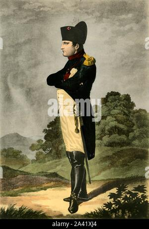 "Napoleon, Emperor of the French and King of Italy, 1806, (1921). 'Napoleon en colonel de chasseurs de la garde impériale - Empereur des Français, Roi d'Italie'. Portrait of Emperor Napoleon I (1769-1821) as colonel of the Horse Chasseurs of the Imperial Guard. Engraving by Arnold after Dahling. From ""Napoleon"", by Raymond Guyot, [H. Floury, Paris, 1921] - Stock Photo"