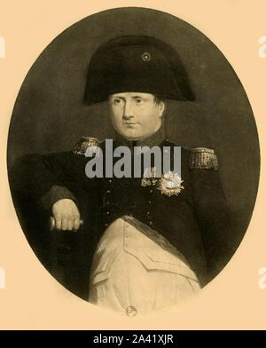 Napoleon on board the 'Bellerophon', July 1815, (1921). 'Napoleon a la coupée du 'Bellérophon''. Portrait of Emperor Napoleon I (1769-1821) after his surrender to Captain Frederick Maitland of the 'Bellerophon' which brought him to England. He was detained on board in Plymouth Sound while his fate was decided. He usually appeared at about 6.00 pm for the benefit of the boatloadss of sightseers, which enabled Charles Lock Eastlake to make rapid sketches from life. Engraving after 'Napoleon Bonaparte on Board the 'Bellerophon' in Plymouth Sound', painting by Eastlake, in the National M - Stock Photo